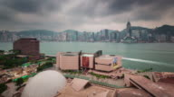 china hong kong day storm  sky city gulf panorama 4k time lapse video
