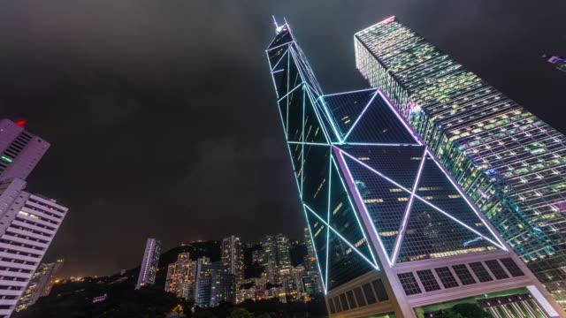china hong kong night light famous high buildings 4k time lapse video