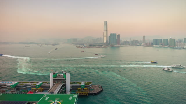 china hong kong sunset rooftop bay kowloon panorama 4k time lapse video