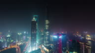 china night illumination shanghai cityscape roof top aerial panorama 4k time lapse video
