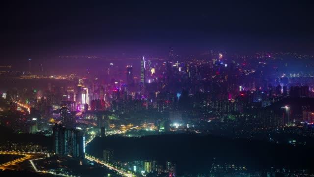 china night light hole shenzhen city panorama 4k time lapse video