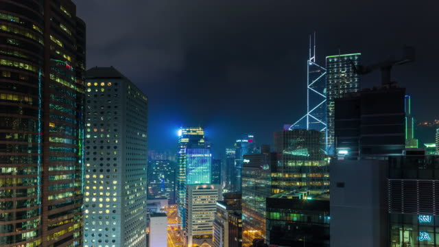 china night light hong kong building leds roof panorama 4k time lapse video