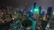 china night light hong kong busy buildings roof top panorama 4k time lapse video