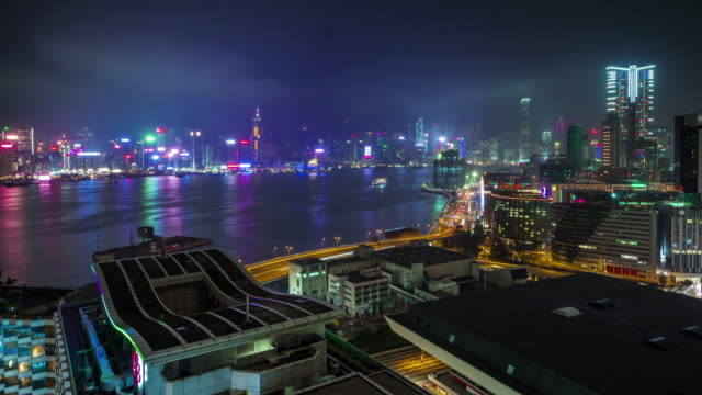 china night light hong kong city bay panorama 4k time lapse video