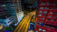 china night light hong kong city living block traffic street 4k time lapse video