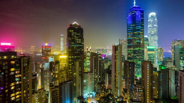 china night light hong kong cityscape modern buildings rooftop panorama 4k time lapse video