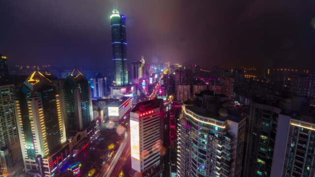china night light roof shenzhen city traffic street cityscape panorama 4k time lapse video