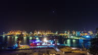 china night light shenzhen city working port panorama 4k time lapse video