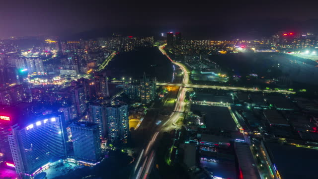 china night light shenzhen roof top industrial part panorama 4k time lapse video
