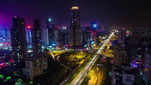 china night light shenzhen traaffic street roof top panorama 4k time lapse video