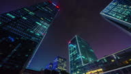 china night light shenzhen up buildings cloudy sky view 4k time lapse video