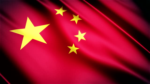 China realistic national flag seamless looped waving animation video