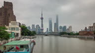 china shanghai city famous gulf ship park downtown panorama 4k time lapse video