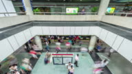 china shanghai city subway hall interior people crowded panorama 4k time lapse video