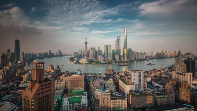 china shanghai famous roof top cityscape bay sunset panorama 4k time lapse video