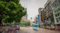 china shanghai summer day city center sidewalk crowded panorama 4k time lapse video