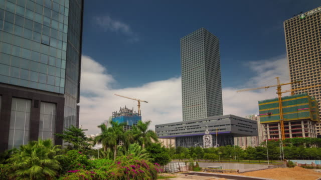 china shenzhen city day light construction buildings view 4k time lapse video