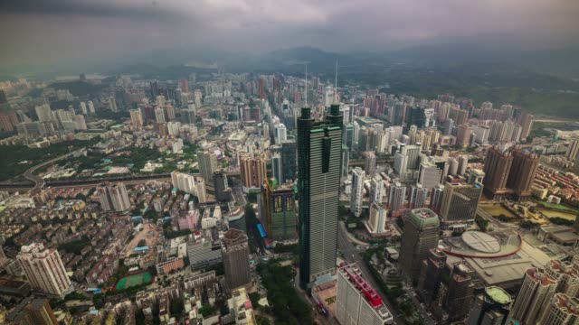 china shenzhen city high tower day light view 4k time lapse video