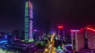 china shenzhen night light traffic road skyscraper view 4k time lapse video