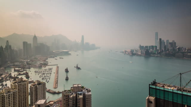 china sun fog hong kong day river port bay panorama 4k time lapse video