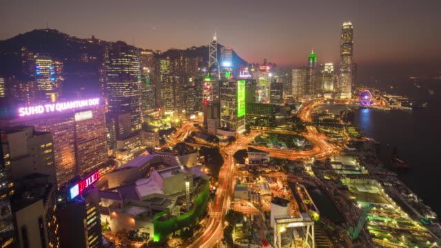 china sunset night light hong kong city rooftop traffic bay panorama 4k time lapse video