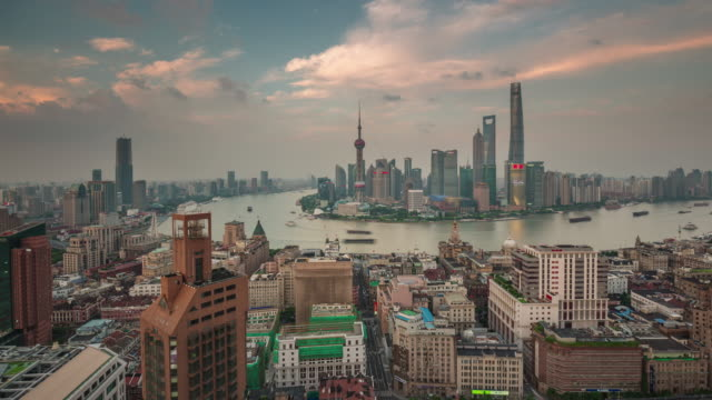 china sunset twilight shanghai cityscape famous bay roof top panorama 4k time lapse video