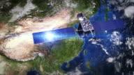 China. Telecommunication satellite orbiting Earth. video