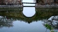 Chinese ancient bridge reflection in the lake video
