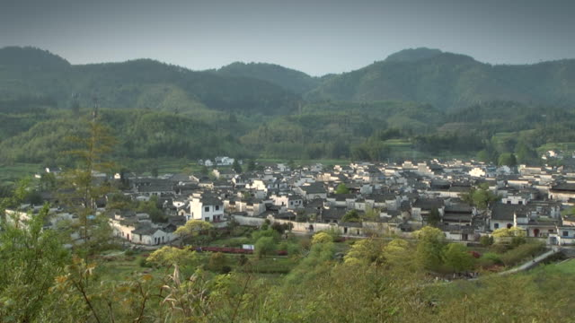 Chinese ancient village, top view. video