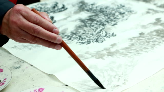 Chinese artist drawing traditional chinese painting with brush, real time. video