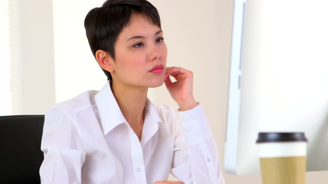 Chinese businesswoman thinking video