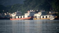 Chinese cargo boats in Mekong river video