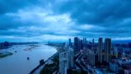 Chinese city skyline, at sunset video