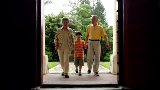 Chinese Door Grandparents and Grandson video