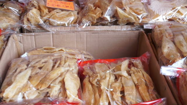 Chinese Dried fish maw shop in Hong Kong. Medicine food for health video