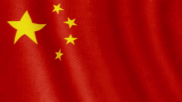 Chinese flag waving animation video