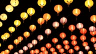 Chinese lantern moving in the wind at night. video