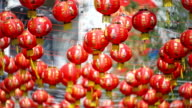 Chinese new year lanterns with blessing text mean happy ,healthy and wealth. video