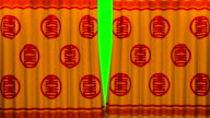 chinese new year red and gold pattern curtain with green screen opening scene video