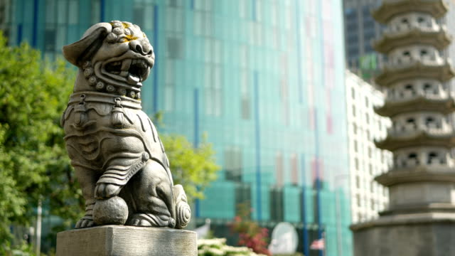 Chinese pagoda and lion near Chinatown in Birmingham, England. video
