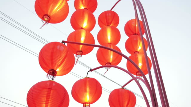 Chinese red lantern decorate on chinese new year,Tilt up video
