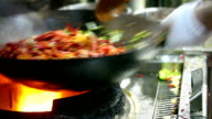 Chinese small lobster stir frying in the kitchen video