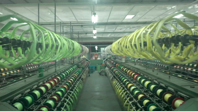 Chinese textile factory interior and machines working scene video