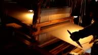 chinese vintage  loom weaving video