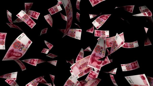 Chinese Yuan Bills Falling with Luma Matte video