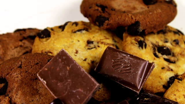 Chip cake cookies with chocolate and Pieces of milk and dark chocolate video
