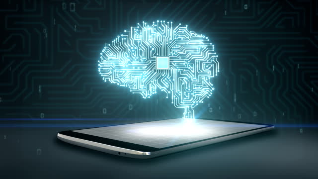 CPU chip shape of brain on smartphone, mobile, artificial intelligence video