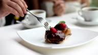 Chocolate and Strawberry eclairs dessert video
