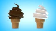 Chocolate and Vanilla Soft Serve Ice Cream Cone (loop with luma matte) video
