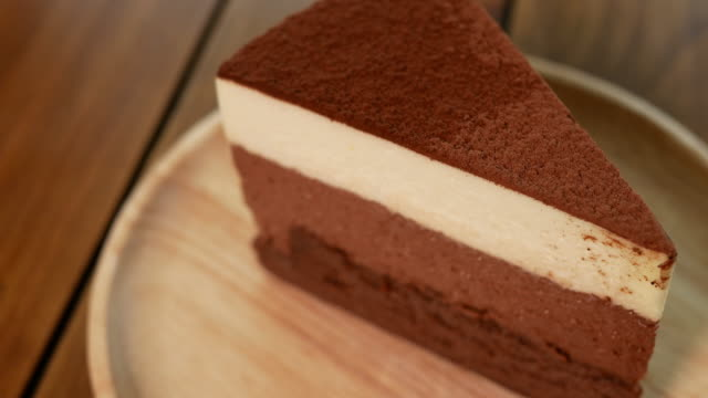 Chocolate cake in the cafe video